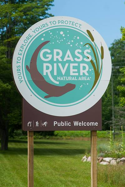 Entrance sign to Grass River Natural Area